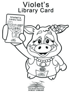 Violet the Cow with Library Card