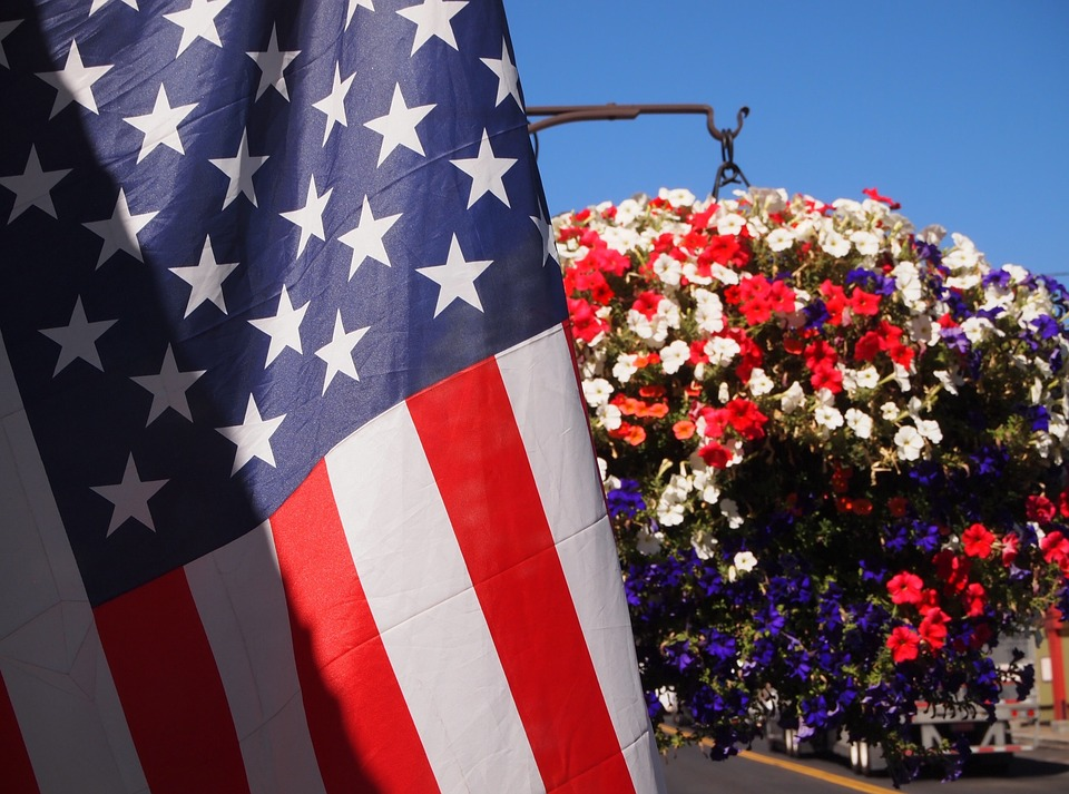 Flag and Flower Image